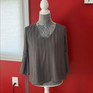 Bell sleeve gray blouse